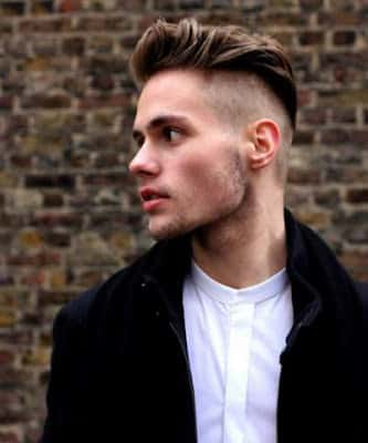 Male hairstyle undercut with dishevelled side quiff