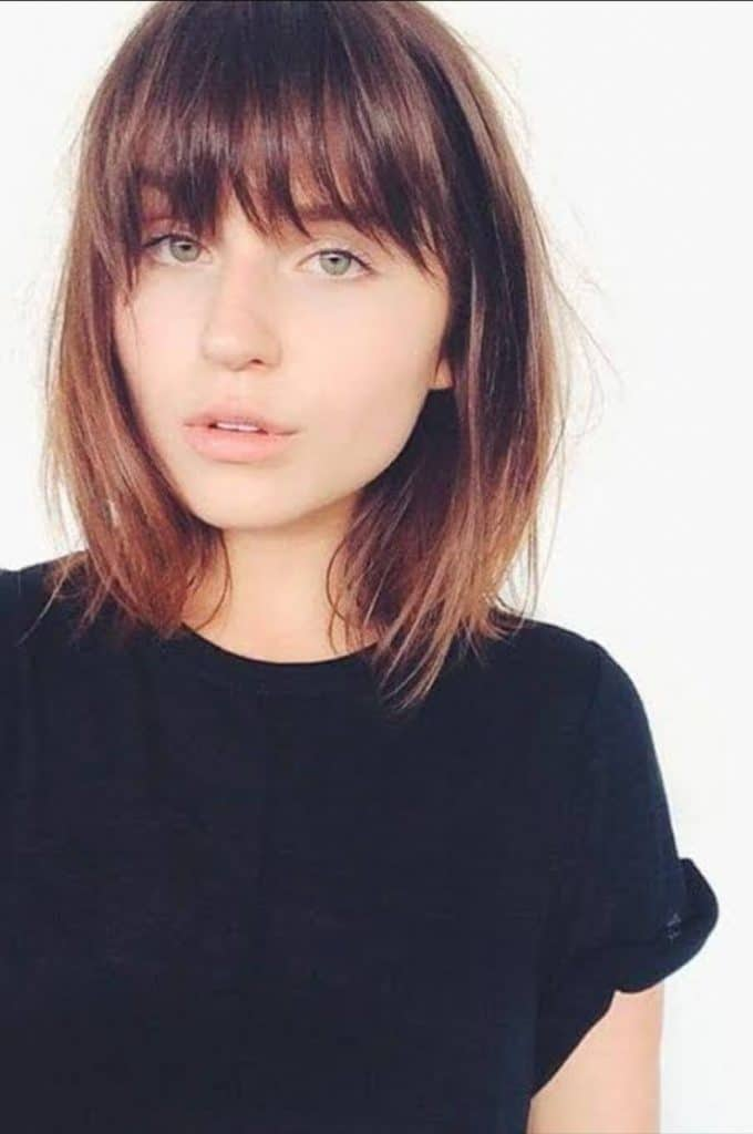 Straight ShoulderEd Styles with Bangs