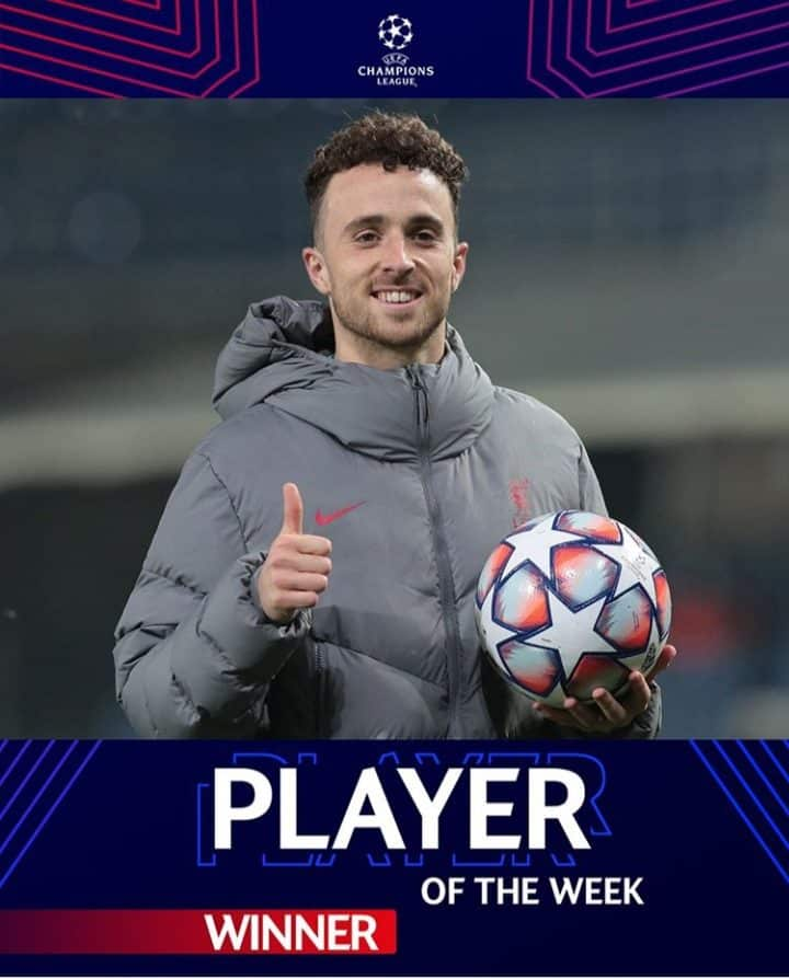 Diogo Jota, UEFA Champions League 2020 Player of the Year
